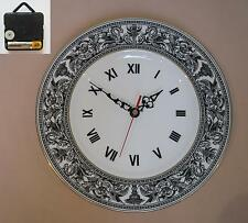 "Wedgwood ""Florentine"" (Black) 10.75"" Wall Hanging Plate CLOCK"