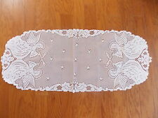 HERITAGE LACE WHITE CHRISTMAS ANGELS TABLE RUNNER NWOT 15X36 INCH ITEM 6078