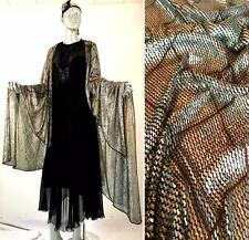 GORGEOUS VINTAGE 1920s ART DECO EGYPTIAN REVIVAL ASSUIT METALLIC SILVER SHAWL