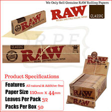 RAW King Size Slim Clasic Rolling Papers - 1 Full New Box - 50 Packets