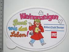 Aufkleber Sticker Kölnische Zeitung - Express - Kleinanzeigen 2 (6894)
