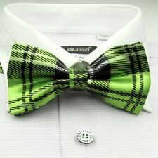 1 x mens ladies silk bow tie bowtie necktie green wedding party formal tartan