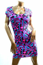 SMALL UV Glow Neon Pink & Black Aztec Bodycon Clubwear Dress Ready To Ship!