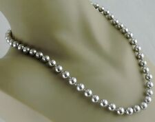 VINTAGE MONET SIGNED NECKLACE CLASSIC FAUX SILVER PEARL STRING STRAND