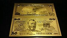 ~NEW UNIQUE~.999 FINE GOLD REP.*U.S.$50 BANKNOTE  FREE SHIPPING!GREAT GIFT 4 ALL