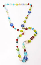 CUTE MULTICOLOUR BEADS LONG NECKLACE FUN VIBRANT PERFECT GIFT STYLISH (ZX20)