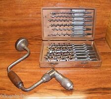 Vintage Hand Drill w/ Craftsman, Irwin, & Clinton Auger Bits Tool Set In Box