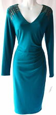 Anne Klein green beaded embelished v neck dress cocktail party day or night new