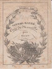 Ex-libris Germain BARRÉ (1763-1836), curé de Montville (Seine-Maritime) - Rouen.