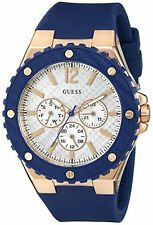 NEW GUESS 2 TWO TONE ROSE GOLD+NAVY BLUE SILICONE BAND+DIAL WATCH-U0452L3