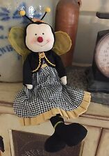 New Primitive Country Folk Art BUMBLE BEE DOLL Girl Dress Shelf Sitter
