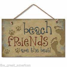 BEACH FRIENDS Footprints,Pawprints Nautical Wooden Wood Sign Picture Made in USA