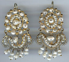EXQUISITE LARGE VINTAGE OAXACA MEXICO ORNATE GOLD FRESH WATER PEARL EARRINGS