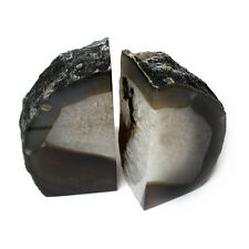 Black Agate Bookend Pair - 3 to 6 lb - Geode Bookend