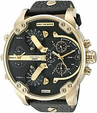 Diesel Men's DZ7371 'Mr. Daddy 2.0' Chronograph 4 Time Zones Black Leather Watch