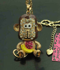 638      Betsey Johnson Crystal Enamel Big mouth monkey Pendant Necklace