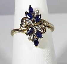 Lovely Estate Natural Blue Sapphire and Diamond Ring,10 k yellow gold, size 6.75