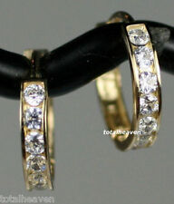 NEW 14K Yellow Gold CZ Huggies Hoop Earrings 11mm Small