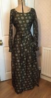 Vintage Lady's 1970's Green Evening Dress Gown Retro 10 12 Full Length Maxi
