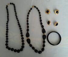 LOT of 5 Pieces Vintage 2 necklaces 1 bangle bracelet 2 pairs screw back earring
