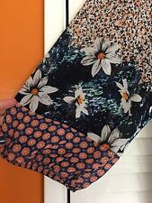 2X New - ANTHROPOLOGIE FIG AND FLOWER TUNIC BOHO PEASANT TOP BLOUSE FLORAL Blue