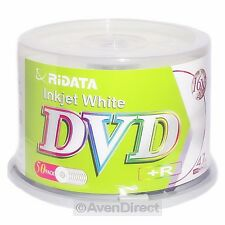 100 New Ridata 16X White Inkjet Printable DVD+R Plus R [FREE USPS Priority Mail]