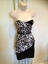 JANE NORMAN Stunning Sexy Leopard Black Cream Bandeau Party Dress Size12