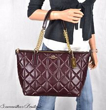 NWT COACH OXBLOOD RED QUILTED LEATHER TOTE SHOULDER BAG SATCHEL HANDBAG PURSE