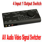 4 Port Input 1 Output Switch AV Audio Video Signal Switcher Splitter + RCA Cable
