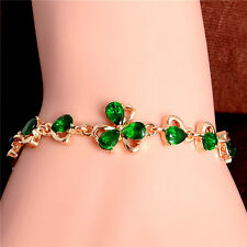 Gold Filled Green Flower Cubic Zirconia Bracelet