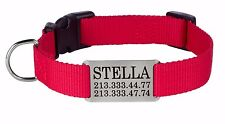 Nylon Dog Collar Personalized Slide On ID Tag Pet Name Pink Red Brown S M L