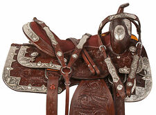 16 17 CUSTOM WESTERN SHOW PARADE SILVER HORSE LEATHER SADDLE TACK SET TRAIL