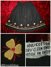 LOVELY VINTAGE 1970'S EMBROIDERED MADE IN INDIA COTTON HIPPY SKIRT UP TO 32""