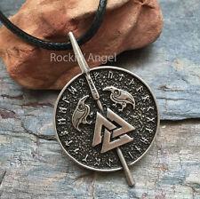 Antique Silver Plt Rune Valknut Ravens Pendant Necklace Ladies Mens Viking Norse