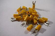 Paquete de 25 de Amarillo 5mm bridado Horquilla Gancho terminal Crimp Connector para 5 Mm De Perno