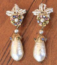 Miriam Haskell Vintage Baroque Pearl Seed Pearl Embellished Leaf Drop Earring