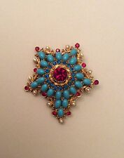VINTAGE SIGNED ART FAUX TURQUOISE RUBY RHINESTONE REGAL CREST PIN