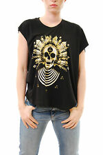 Eleven Paris Women`s Midelo Black T-Shirt Size S BNWT Short Sleeve Zip NEW