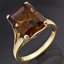 Larger ~4ct Smoky Quartz 9ct Solid Yellow GOLD COCKTAIL SOLITAIRE RING Sz M1/2