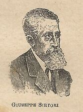 A0538 Giuseppe Sirtori - Stampa Antica del 1907 - Xilografia