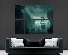PIRATE SHIP ISLAND SEA WATER FOG  POSTER PICTURE WALL IMAGE  ART PRINT LARGE