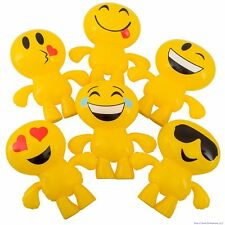 "(6) EMOJI INFLATABLE 24""Inch Blow Up - Pool Beach Birthday Party Float Smile Toy"