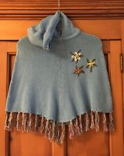 ALiVE Girls Poncho Size 104/116 Blue Knit Embroidered Hood Tassels Baumwolle