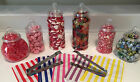 6 Plastic Victorian Sweet Jars 50 Bags 2 Tongs for Sweet/Candy Table or Storage