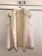 CHICOS Sherpa Reversible Cream White Rosette Faux Fur Suede Vest Sz 1 M GORGEOUS