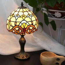 Tiffany Style Stained Glass Handcrafted Baroque Table Lamp Button Switch 8 inch