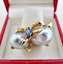 Vintage 14K Yellow Gold Ring w/ Blue Sapphire & 2 Gray Pearls  (11.7g, size 8.5)