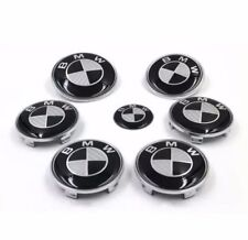 BMW complete Set 7x (82+74+68+45mm) Carbon Fiber Black/White Emblem Logo BMW