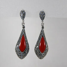 Genuine 925 Sterling Silver Vintage Marcasite/Red Agate Drop Earring