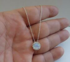 925 STERLING SILVER OPAL CLUSTER PENDANT NECKLACE W/ 2 CT OPAL & DIAMONDS/ 18''
